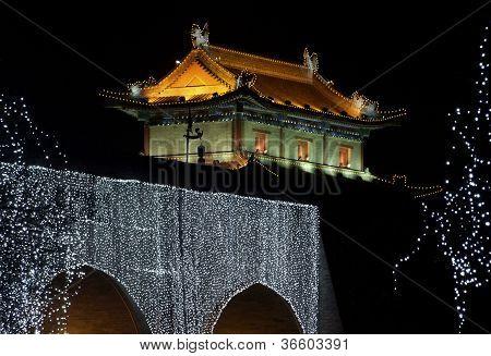 Illuminated City Wall Of Xian