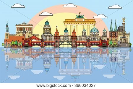 Colorful Vector Skyline Of Berlin, Germany In  Line Art Style. Flat Vector Isolated Colorful Illustr