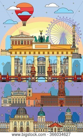 Colorful Vector Skyline Of Berlin, Germany In Line Art Style. Vertical Vector Flat Illustration Of M