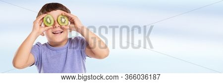 Little Boy Child With Kiwi Fruit Having Fun Banner Copyspace Copy Space Happy Happiness Healthy Eati