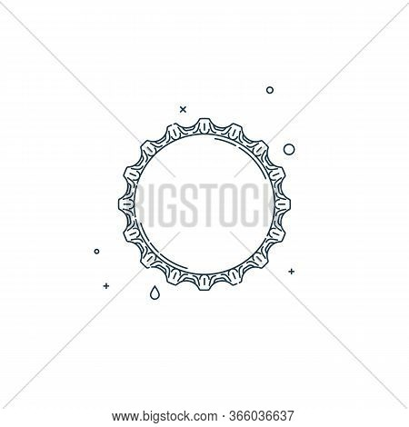 Flat Illustration With A Bottle Cap On A White Background. Isolated Element. Line Art Design. Top Vi