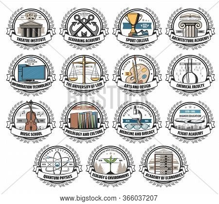 University, College And Academy Isolated Vector Icons. College And School Education, Art And Design,