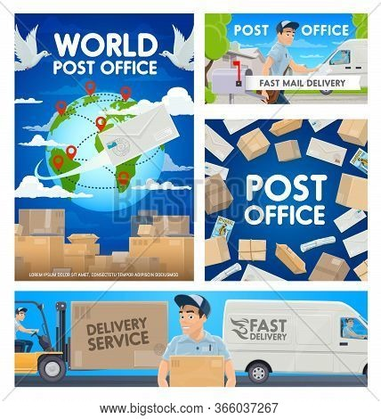 Post Office, Mail Delivery Service Vector Posters. Cartoon Postman Or Mailman Courier Delivering A P