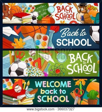 Back To School Chalkboard Banners, Student Books And Pens, Vector Study And Education Items. Welcome