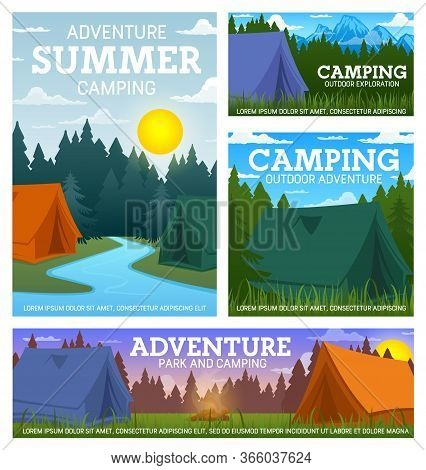 Travel Camping Camp And Tents. Summer Outdoor Adventure, Hiking, Mountaineering And Trekking Tourism
