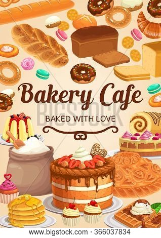 Bakery, Bread Or Pastry Desserts Cafe. Vector Sweet Baked Cheesecake, Pie And Cake With Strawberry,