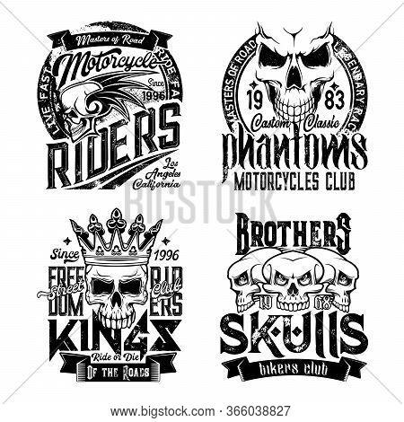 Skull T-shirt Prints. Grunge Vector Monochrome Mascots. Biker Club Symbol, Motorcycle Riders T-shirt