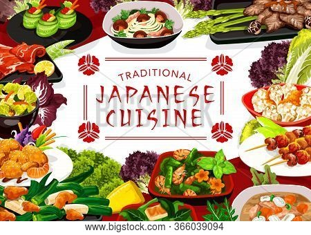 Japanese Cuisine Menu Vector Cover. Fresh Seafood, Meat And Vegetable Dishes. Shrimp Salad, Shellfis