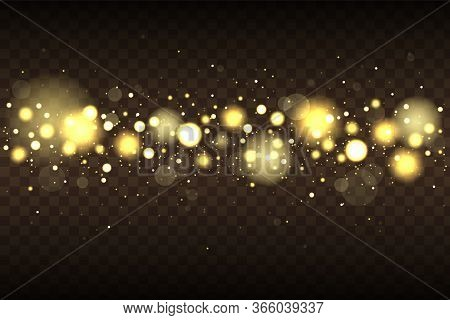 Golden Bokeh Lights With Glowing Particles Isolated. Light Glowing Bokeh Lights. Bokeh Lights Effect