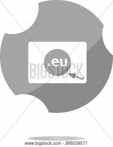 Domain Eu Sign Icon. Top-level Internet Domain Symbol With Cursor Pointer
