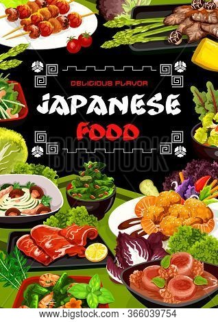 Japanese Cuisine Asian Restaurant Menu Vector Cover. Seafood Shrimps, Fish, Pork And Chicken Meat, S