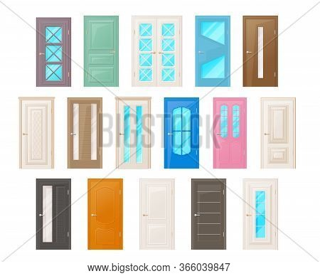 Interior Room Doors Isolated Vector Objects. Interior Design Elements For Room Or Office Decoration,