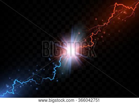 Lightning Collision. Red And Blue Electric Lightning Collision. Versus Abstract Background With Thun