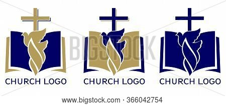 Church Logo Set, Symbol Of Christianity, The Cross , Dove And The Gospel, Scripture, Vector Illustra