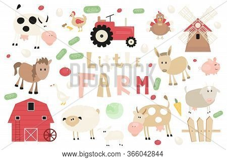 Farm Animals And Objects Set. Cartoon Clip Arts In Rustic Style. Isolated On White Background. Vecto