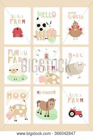 Little Farm Posters Set - Cartoon Farm Animals And Objects - Barn, Tractor, Mill. Kids Illustration