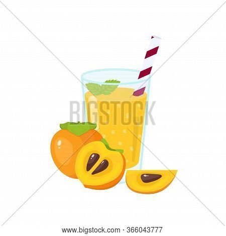 Fresh Persimmon Smoothie. Fruit Smoothie In A Glass. Healthy Drink Vector Illustration