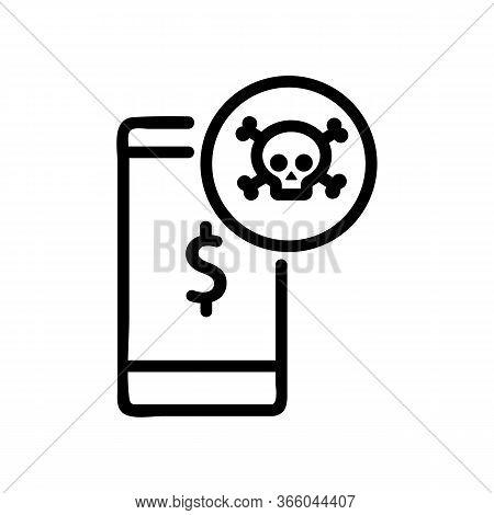 Hacker Money Hacking Phone Icon Vector. Hacker Money Hacking Phone Sign. Isolated Contour Symbol Ill