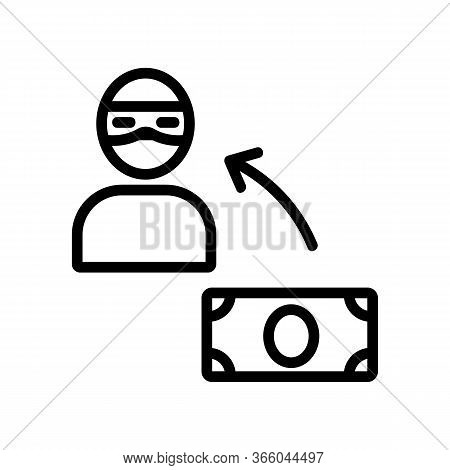 Hacking For Money Icon Vector. Hacking For Money Sign. Isolated Contour Symbol Illustration