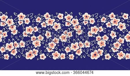 Hand Drawn Artistic Naive Daisy Flowers On Blue Background Vector Seamless Pattern Border. Blob Bloo