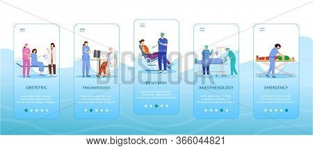Medicine And Healthcare Onboarding Mobile App Screen Template. Obstetric, Traumatology, Dentistry, A