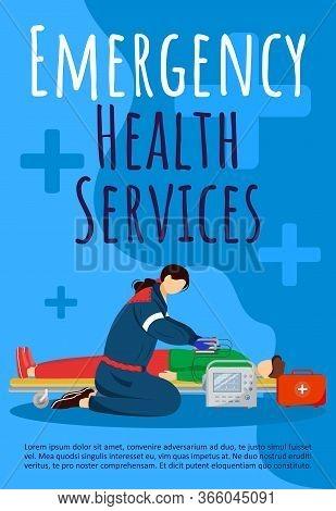 Emergency Health Service Brochure Template. Paraedic, Emt. Flyer, Booklet, Leaflet With Flat Illustr