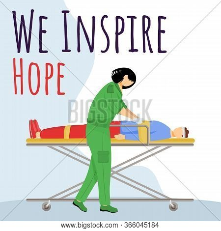 We Inspire Hope Social Media Post Mockup. First Aid, Resuscitation. Advertising Web Banner Template.