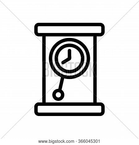 Portable Classic Pendulum Clock Icon Vector. Portable Classic Pendulum Clock Sign. Isolated Contour