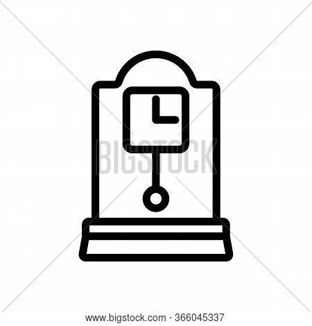 Portable Square Clock With Pendulum Icon Vector. Portable Square Clock With Pendulum Sign. Isolated