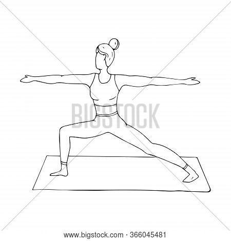A Young Girl Is Engaged In Hatha Yoga. The Warrior Pose. Virabhadrasana. Gymnastics, Healthy Lifesty