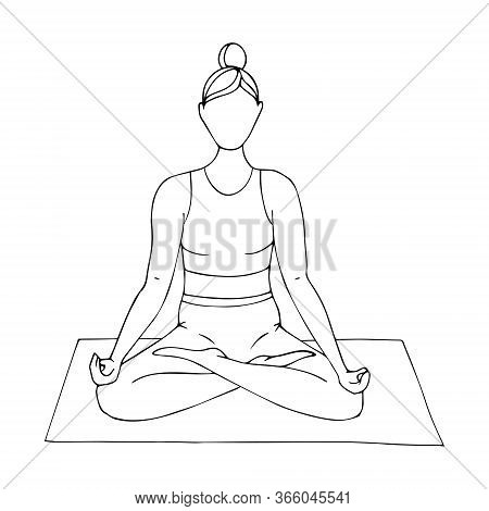 A Young Girl Is Engaged In Hatha Yoga. Sitting In The Lotus Position.gymnastics, Sports, Healthy Lif
