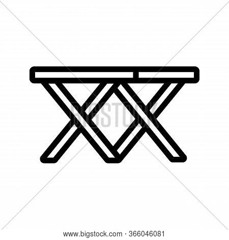 Folding Double Two Chairs Icon Vector. Folding Double Two Chairs Sign. Isolated Contour Symbol Illus