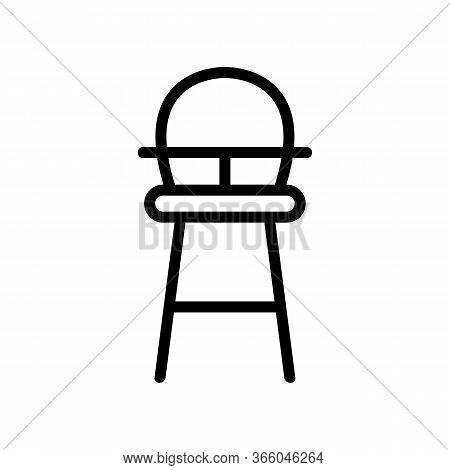 High Wooden Chair For Feeding With Table-top And With Round Back Icon Vector. High Wooden Chair For
