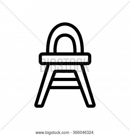Plastic Feeding Chair With Rounded Back Icon Vector. Plastic Feeding Chair With Rounded Back Sign. I