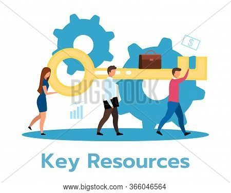 Key Resources Flat Vector Illustration. Effective Company Functioning. Organization Management Asset