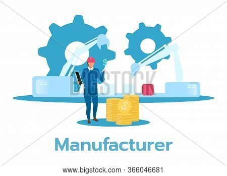 Manufacturer Flat Vector Illustration. Man Monitoring Factory Production Line, Counting Revenue. Man