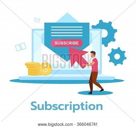 Subscription Flat Vector Illustration. Regular, Recurring Payment For Product, Service. Monthly Reve