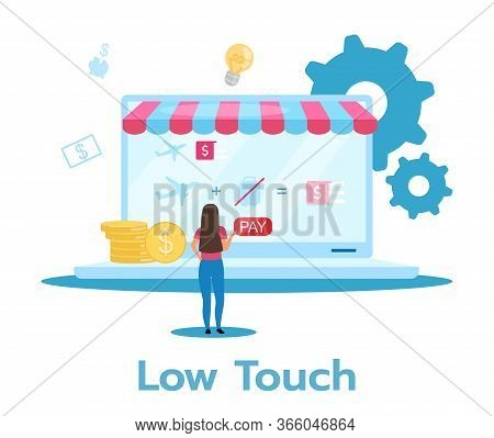 Low Touch Business Model Flat Vector Illustration