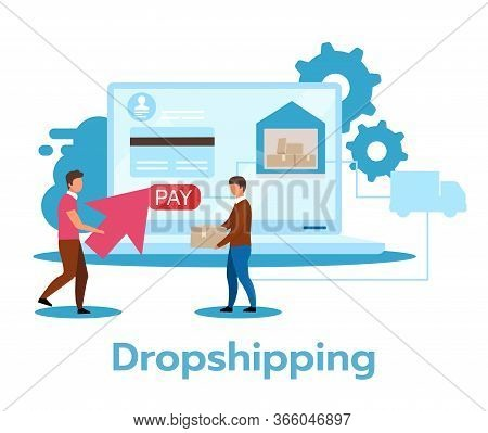 Dropshipping Flat Vector Illustration. Retail Fulfillment Method. Sale Strategy. Minimal Investment.