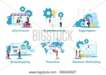 Business Model Flat Vector Illustrations Set. E-commerce. Crowdsourcing. Aggregator. Dropshipping. F