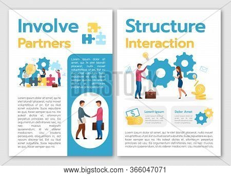 Involve Partners Brochure Template. Structure Interaction. Flyer, Booklet, Leaflet Concept With Flat
