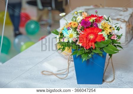 Blue Bouquet Of Colorfull Flowers . Barberton Daisy And Transvaal Daisy Flowers . Bouquet Colorfull