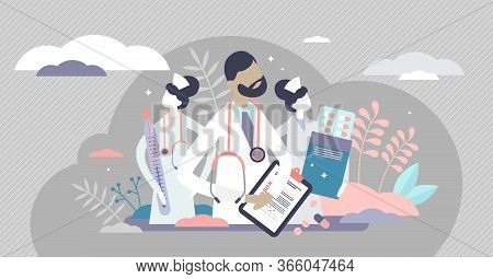 Medical Team Vector Illustration. Doctor And Nurses Flat Tiny Persons Concept. Professional Hospital