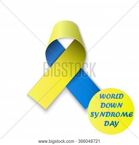 World Down Syndrome Day Poster. Wdsd. Detailed Badge. Blue And Yellow Ribbon. Low Poly, Geometric. E