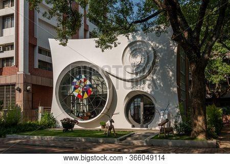Nantou, Taiwan - April 9th, 2020: famous attraction building of Little ZhongXing Court at Zhongxing New Village, Nantou, Taiwan