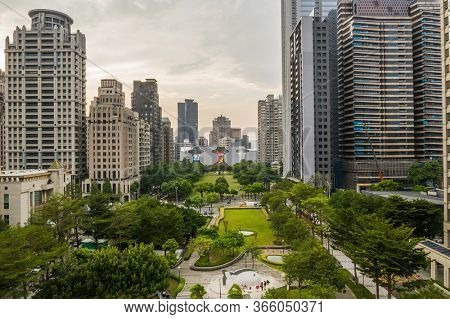 Taichung, Taiwan - September 27th, 2019: cityscape of Taichung city with skyscrapers and buildings at Taichung City, Taiwan, Asia
