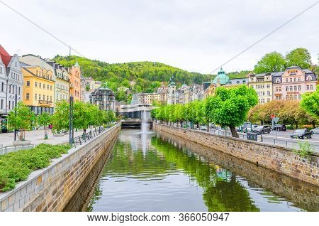 Karlovy Vary, Czech Republic, May 9, 2019: Carlsbad Historical City Centre With Tepla River Central
