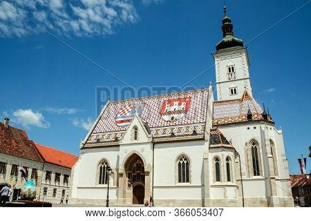 Zagreb, Croatia - May 28, 2009: Church Of Saint Mark, Also Called Crkva Svetog Marka, In The Old Zag
