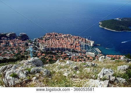 Old Town Of Dubrovnik, Croatia, Seen From Above With The Adriatic Sea In The Background. Dubrovnik I