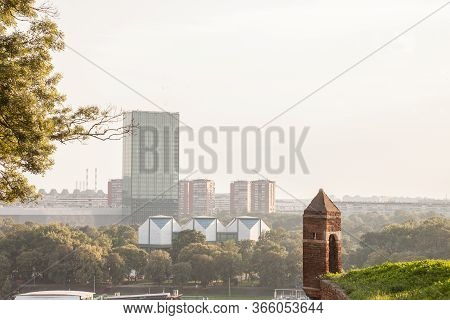 Panorama And Skyline Of Novi Beograd, Or New Belgrade, The Newest Part Of The Serbian Capital City,